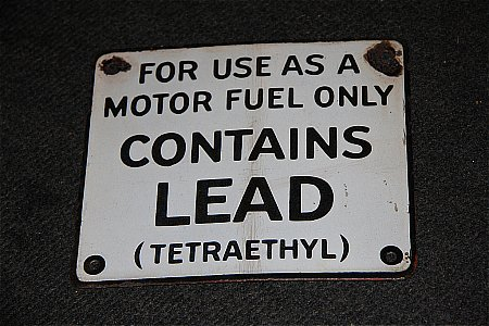 LEAD PETROL PLAQUE. - click to enlarge