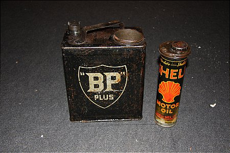 B.P.CAN WITH SHELL OIL QUART INSERT - click to enlarge