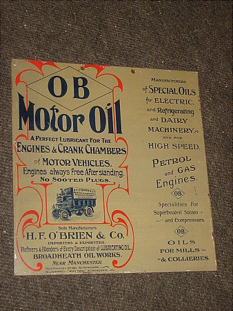 O'BRIEN MOTOR OILS - click to enlarge