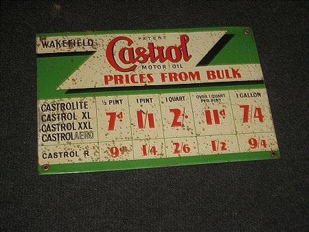 CASTROL BULK PRICE SIGN - click to enlarge