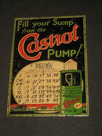 CASTROL CABINET PRICE SIGN - click to enlarge