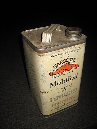 "MOBILOIL ""A"" GALLON CAN - click to enlarge"