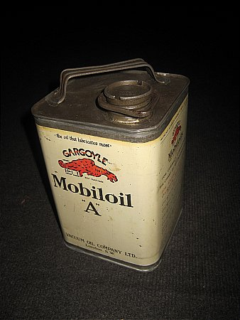 "MOBILOIL ""A"" HALF-GALLON CAN - click to enlarge"