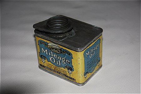 MILEAGE OIL PINT TIN - click to enlarge
