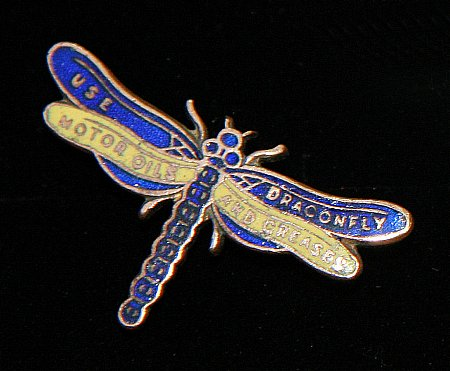 Enamel Badge. DRAGONFLY OILS (SMALL) - click to enlarge
