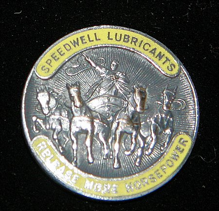 Enamel Badge. SPEEDWELL LUBRICANTS - click to enlarge