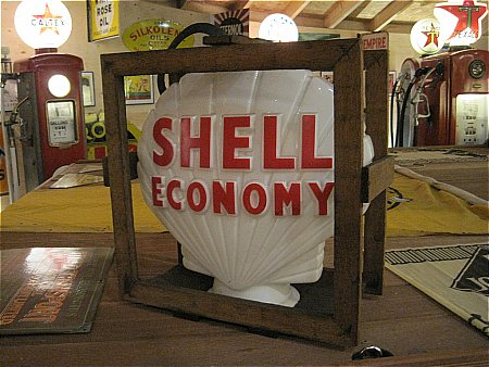 SHELL GLOBE WITH ORIGINAL CRATE - click to enlarge
