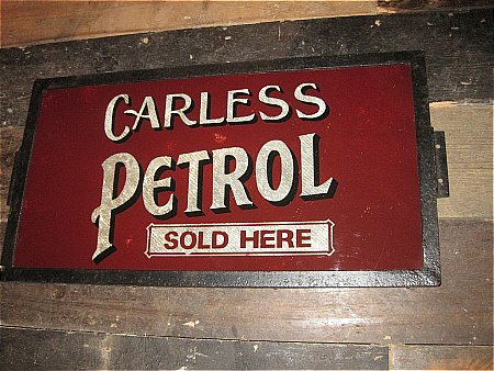 CARLESS METAL & GLASS SIGN - click to enlarge