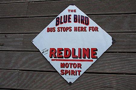 REDLINE BLUE BIRD ENAMEL SIGN - click to enlarge