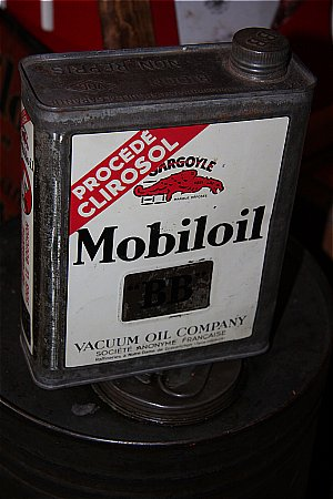MOBILOIL FRENCH LITRE TIN. - click to enlarge