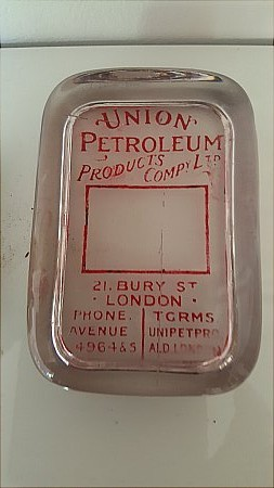 UNION PETROL CO. GLASS PAPERWEIGHT. - click to enlarge