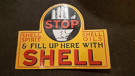 """SHELL STOP """"Black Hand"""" SIGN - click to enlarge"""