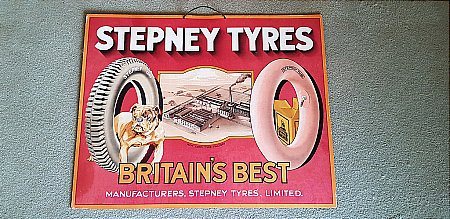 STEPNEY TYRES SHOWCARD - click to enlarge