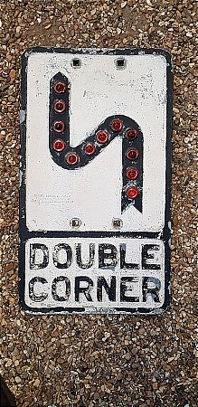 DOUBLE CORNER CAST ROAD SIGN - click to enlarge