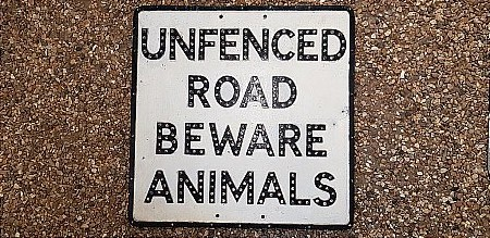 UNFENCED ROAD SIGN (BEWARE ANIMALS) - click to enlarge