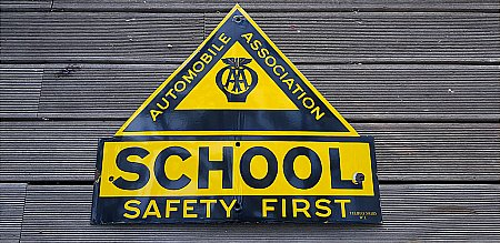 SCHOOL SAFETY FIRST ENAMEL ROAD SIGN - click to enlarge