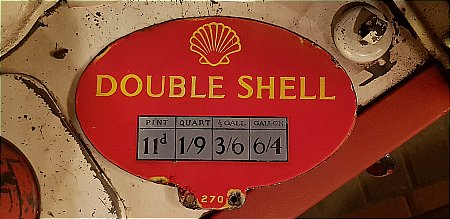 SHELL DOUBLE OIL PUMP PRICE ENAMEL - click to enlarge