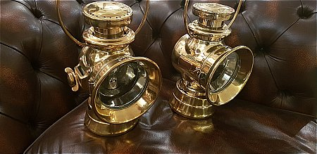 EDWARDIAN BRASS MOTOR LAMPS - click to enlarge