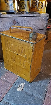 NATIONAL BENZOLE TWO GALLON PETROL CAN. - click to enlarge