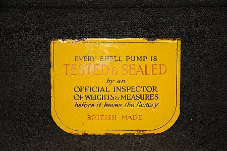 SHELL TESTED & SEALED PUMP PLAQUE - click to enlarge
