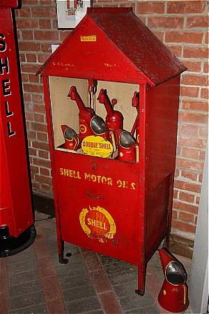 EARLY SHELL TRIPLE OIL CABINET - click to enlarge